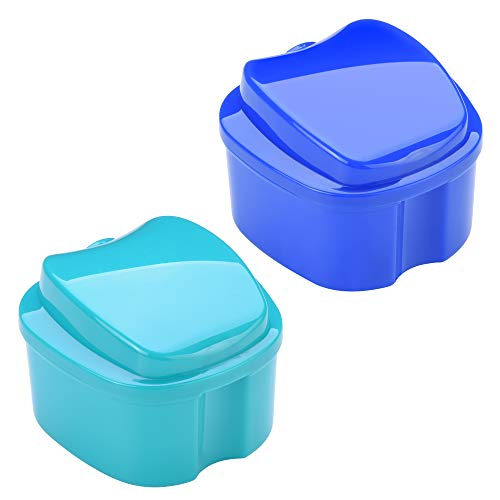 Beautyflier Pack of 2 Denture Bath Case with Strainer, Retainer Cleaning Box False Teeth Storage Box