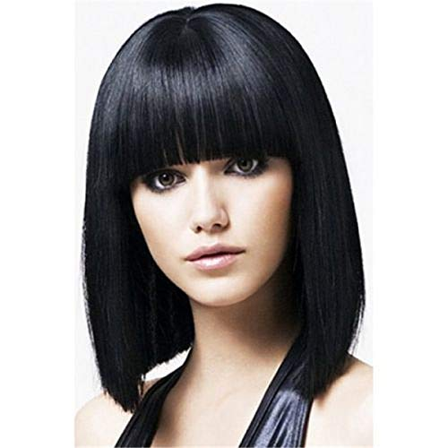 Can Be Dyed Hot 100% High Temperature Silk Ladies Black Straight Wig -