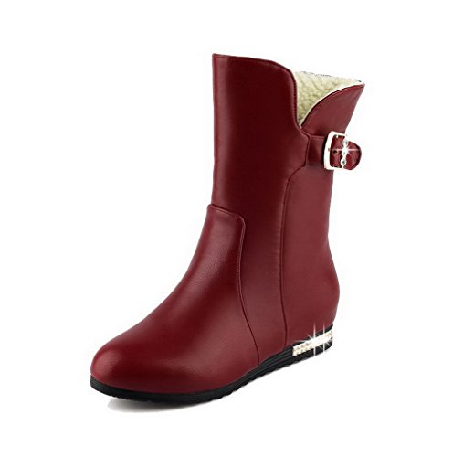 Soft Claret Low top Heels Low Women's Solid Allhqfashion on Pull Material Boots UqFPtnwwA