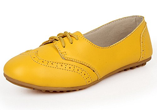 Bumud Mujeres Shoe Classic Lace Up Dress Bajo Talón Plano Oxford Amarillo