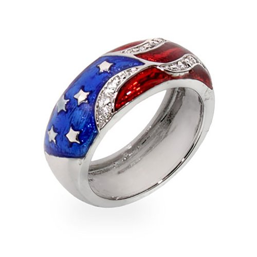 Kate Bissett Genuine Rhodium Plated American Flag Enamel Ring with Red and Blue Enamel Size 5