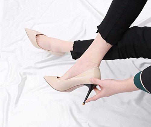 GTVERNH-Sexy GTVERNH-Sexy GTVERNH-Sexy 9 Cm High-Heeled Hochzeit Schuhe Die Feder Und Die Neuen Kleinen Und Bemalte Leder Licht Damenschuhe Tipps Und Vielseitige Einzelne Schuhe schwarz 63141a