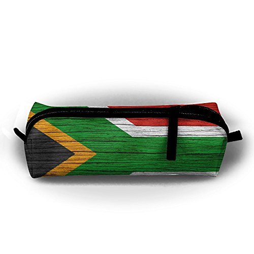 Gult South Africa Wooden Texture South African Flag Pencil Travel Makeup Jewelry Key Purse Coin Cash Bag Box Case Multi-function