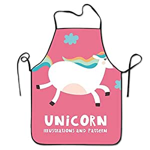 Funny-Unicorn-Wallpaper Restaurant Home Kitchen Bib Apron For Women And Men, Apron Bib For Cooking, Grill And Baking, Crafting, Gardening - Adjustable Neck Strap