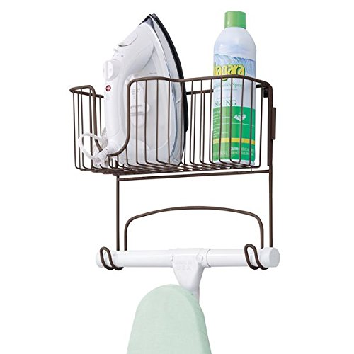 mDesign Wall Mount Ironing Board Holder with Storage Basket for Clothes Iron for Laundry Room, Basement - Bronze (Laundry Basket Storage Shelves)