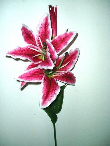 Artificial silk casablanca stargazer lily single stem 81cm pink artificial silk casablanca stargazer lily single stem 81cm pinkwhite mightylinksfo