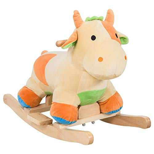 Qaba Kids Rocking Horse Toy Cow Ride on Rocker - Brown with Realistic Sounds