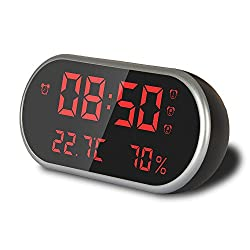 Samchung Digital Electronic Alarm Clock With USB, Large LED Display - Three Alarm Clocks Can Be Set - Thermometer Alarm Clock - Humidity Alarm Clock - With USB Charger