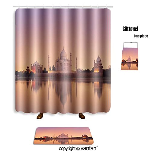 vanfan bath sets with Polyester rugs and shower curtain taj mahal in agra india on sunset 85968976 shower curtains sets bathroom 36 x 72 inches&23.6 x 15.7 inches(Free 1 towel and 12 hooks) - Taj Mahal Olive Rug