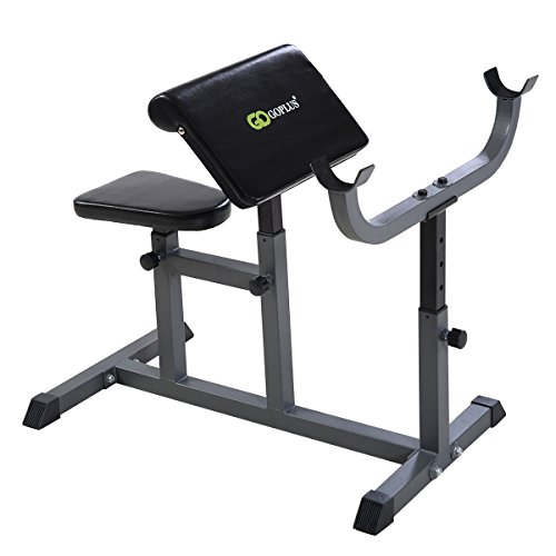 Goplus Adjustable Commercial Preacher Arm Curl Weight Bench Seat Dumbbell Biceps