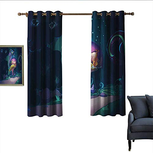 """longbuyer Mushroom Sliding Curtains Big Magical Plant in Fairytale Forest at Midnight Children Book Design Wonderland Home Garden Bedroom Outdoor Indoor Wall Decorations 55"""" Wx40 L Multicolor from longbuyer"""