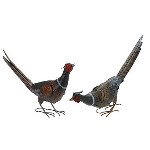 CHSGJY Pheasant Pair Statues Handcrafted Metal Garden Art Sculptures Indr/Outdoor Birds