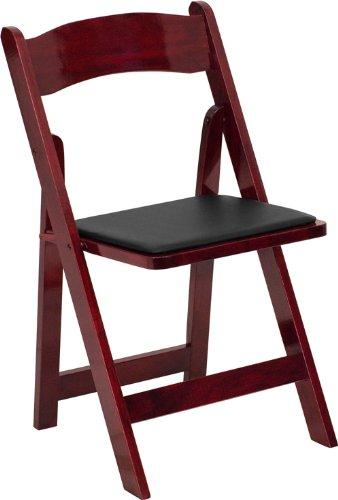 Mahogany Wood Folding Chair with Vinyl Padded Seat - Weddin
