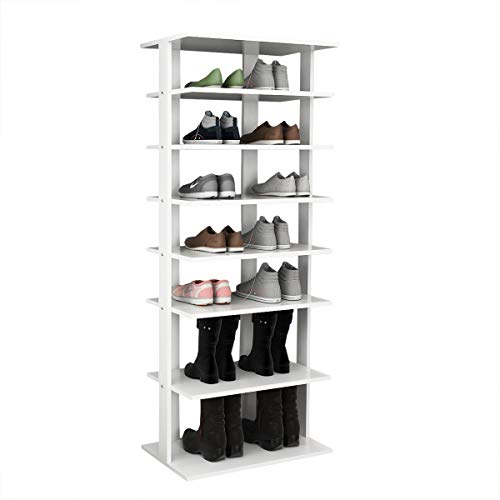 Tangkula Wooden Shoes Racks, Entryway Shoes Storage Stand, Modern 7 Tiers Shoe Rack Organizer, Multi-Shoe Rack Shoe Box, Storage Shelf (White, Double) ()