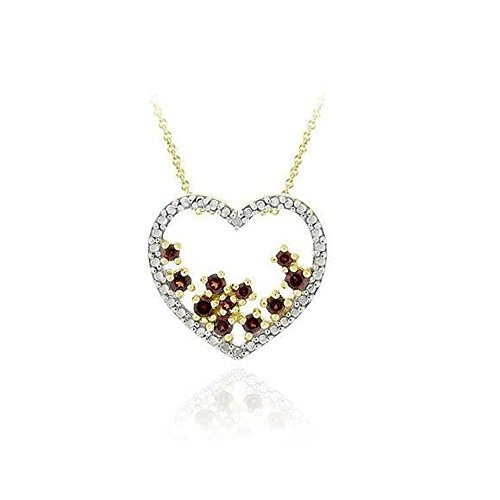 - Glitzs Jewels Gold Tone Over Sterling Silver Garnet & Simulated Diamond Accent Open Heart Slide Pendant, 18''
