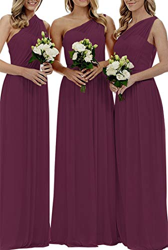 Bridesmaid Dresses for Women Long Chiffon One Shoulder Formal Aline Prom Evening Gown Grape US12