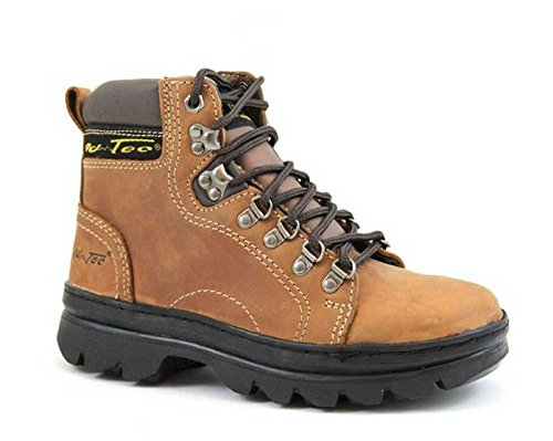 "AdTec Womens 6"" Crazy Horse Leather Hiking & Work Boots Soft Toe Brown 2987 (7)"