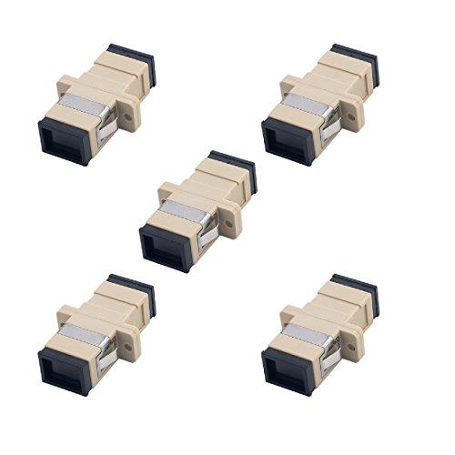 - SC Fiber Optic Adapter - Comm Cable SC to SC Simplex Multimode Coupler - 5 Pack - Beige
