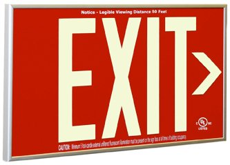 Non Electric Exit Sign UL Listed - Aluminum Frame - Surface Mount - Arrows