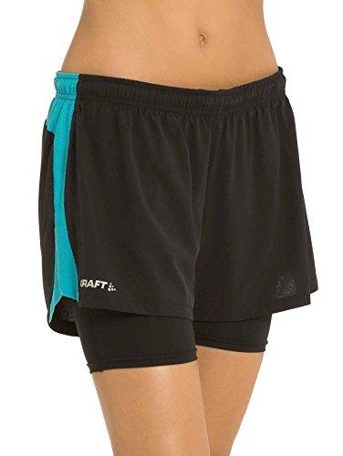 Craft Joy Run 2en 1de pantalones cortos w Mujer black-resort Talla:XXL