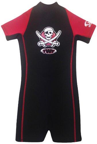 TWF Kinder Neoprenanzug Shorty, Motiv Pirat rot rot 3-4 Jahre