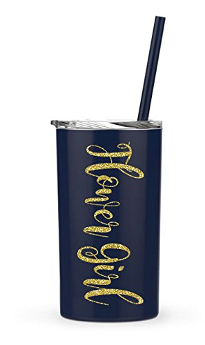 FLOWER GIRL Navy Mini Tumbler - Navy and Gold Bridal Party stainless steel skinny tumbler - 12oz. Skinny Stainless Steel Tumbler12 oz - Bride Tumbler Gift (Navy Mini - Flower (Cup Of Gold Flower)