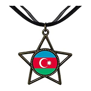 Chicforest Bronze Retro Style Azerbaijan flag Five Pointed Star Pendant