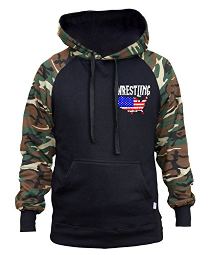 Interstate Apparel Men's Wrestling American Flag Map Black/Camo Raglan Baseball Hoodie Medium (Usa Map Mens Hoodie)
