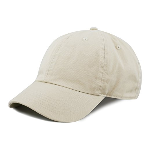 - The Hat Depot Kids Washed Low Profile Cotton and Denim Plain Baseball Cap Hat (6-9yrs, Putty)