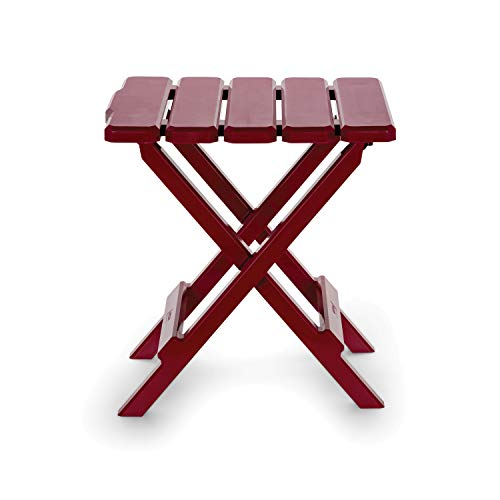Camco 51684 Red Regular Adirondack Portable Outdoor Folding Side Table, Perfect for The Beach, Camping, Picnics, Cookouts and More, Weatherproof and Rust Resistant