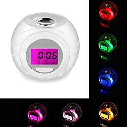 Iuhan Digital Alarm Clock, Wake Up Light Clock for Kids Child Toddler Adults 7 Colors Changing Alarm Clock (Clear)