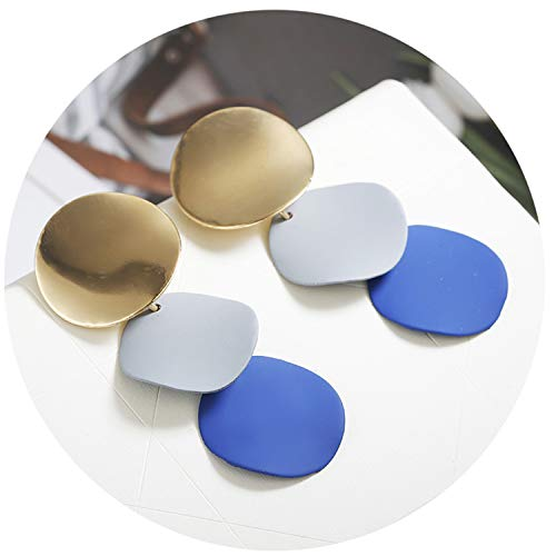 Big Earrings for Women Gold Color Geometric Earring Metal Earing Hanging Jewelry ez56gray ()
