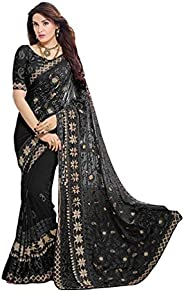 VintFlea Indian Women's Party Wear Chiffon Zari Embroidery Saree with Blouse P