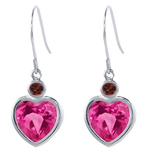 Earrings Pink Garnet Topaz & (4.64 Ct Heart Shape Pink Mystic Topaz Red Garnet 925 Sterling Silver Earrings)