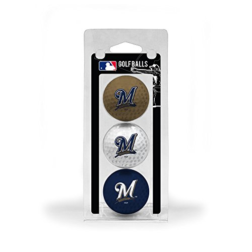 Team Golf MLB Milwaukee Brewers Regulation Size Golf Balls, 3 Pack, Full Color Durable Team Imprint ()