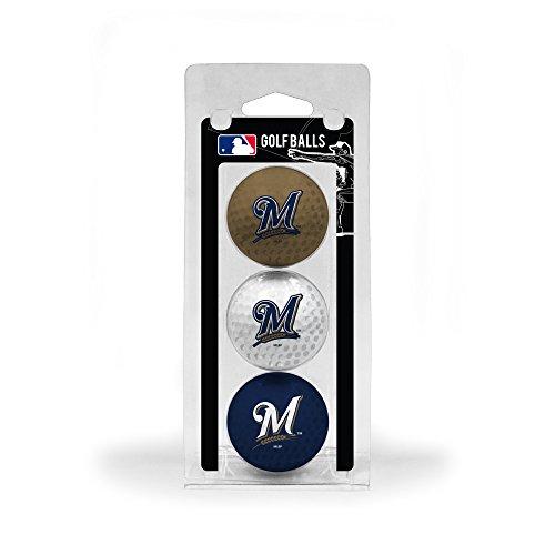 (Team Golf MLB Milwaukee Brewers Regulation Size Golf Balls, 3 Pack, Full Color Durable Team Imprint)