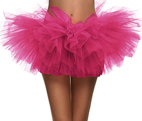 "Women's Vintage 5-layered Run Walk Little Princess Dash Event Tutu Skirt, Rose, One Size - Waist 26""-47"" from Simplicity"