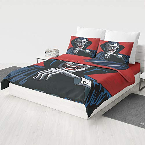 MASCULINTY 4 Piece Bedding Sets,Vampire,for Kids Boys Girls Reversible Bedding Sets(Queen)
