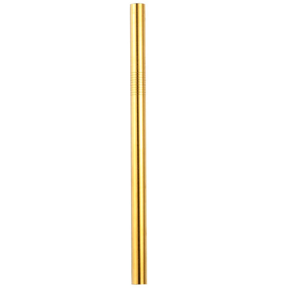 Connia Colorful Long Stainless Steel Metal Drinking Straws Reusable Drinking Straws (Gold)