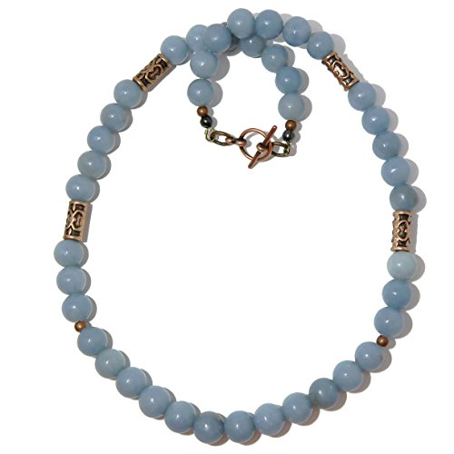 SatinCrystals Angelite Necklace 9mm Boutique Glacier Blue Gemstone Antiqued Brass Handmade in USA B01 (20