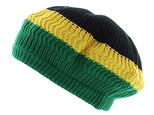 - Tam Rasta Hat Bail Visor Peak Reggae Cap Dreadlocks Long Dreads Crown Multiple Designs & Colors M to XL (M/L Jamaican Flag)