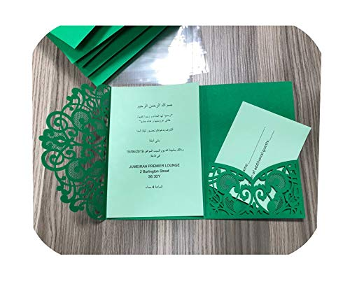 Big Incisors 100Pcs Laser Cut Wedding Invitations Card European Elegant Tri Fold Lace Business Greeting Cards Wedding Party Favors Supplies,Green Cover Inner from Big Incisors