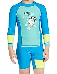 DIVE&SAIL Boys Two-Piece Rashguard Swimsuit Long Sleeve Swimwear with Shorts Set