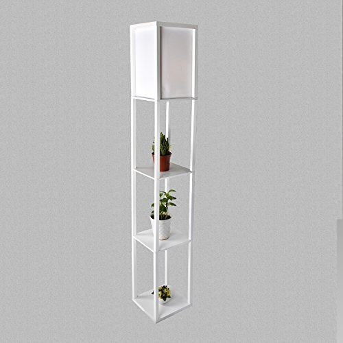 (LED Shelf Floor Lamp - Simple Design Modern Standing Lamp with Soft Diffused Uplight - Asian Style Wooden Frame with Convenient Open Box Display Shelves- White (White))