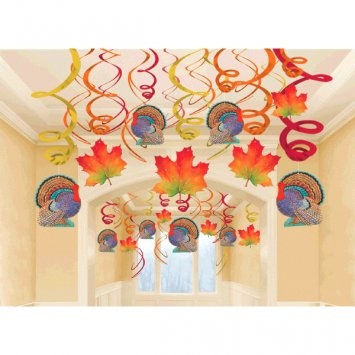 Thanksgiving Cut Out Decorations (Colors of Autumn Thanksgiving Party Foil Swirls With Hanging Cutouts Mega Value Pack Ceiling Decorations, Foil, Pack of 30)