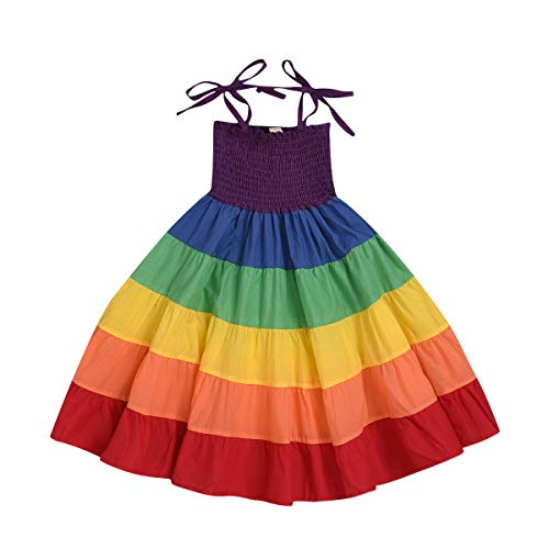 Baby Onesie Dress (Baby Girls Rainbow Dress Toddler Princess Sleeveless Halter Beach Tutu Sundress (Little Sister- Rainbow, 6-12 Months))