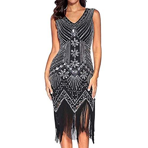 (Women\'s 1920s Gatsby Dress Slim Sexy V-Neck Dress Fringe Sequins Starlight with Decorative Flower Dress Retro Cocktail Prom Dress (Black,XL=US L))