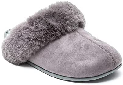 Revs Premium Massage Slippers, Vegan, with Faux Fur Lining. Shock Absorbing, Cushion Comfort Sole with Reflexology Massage Footbed & Supportive Arch. Provide Comfort, Pain Relief & Better Health.