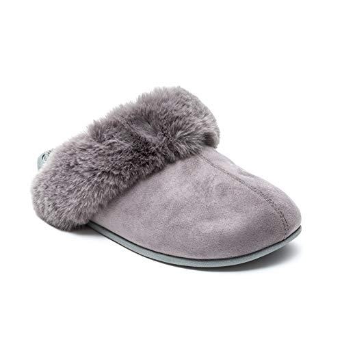 Revs Premium Massage Slippers for Ladies in Grey, with Faux Fur Lining. Reflexology & Acupressure Massage Footbed, Shock Absorbing Sole, with Cushion Comfort & Supportive Arch. Wear for better health.