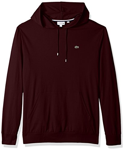 Lacoste Men's Long Sleeve Jersey Hoodie Tee with Central Pocket, TH9349, Vendange, Large from Lacoste